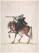 Drawing of a Mounted Arquebusier (Soldier on Horseback)