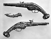 Pair of Wheellock Pistols with Matching Priming Flask/Spanner