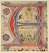 Manuscript leaf showing an Illuminated Initial E and The Resurrection