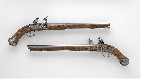 Pair of Pistols with Flintlocks alla Fiorentina