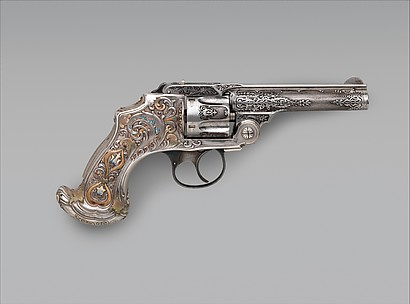 Smith and Wesson .38 Caliber Safety Third Model Double-Action Revolver, serial no. 83097, with Case