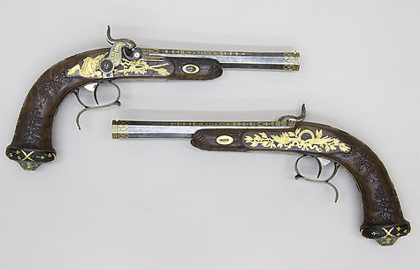Cased Pair of Percussion Target Pistols with Loading and Cleaning Accessories, Made for Henri Charles Ferdinand Marie Dieudonné d'Artois, Duke of Bordeaux, Count of Chambord (1820–1883)