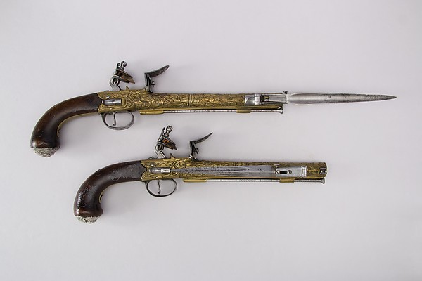 Pair of Flintlock Pistols with Bayonets