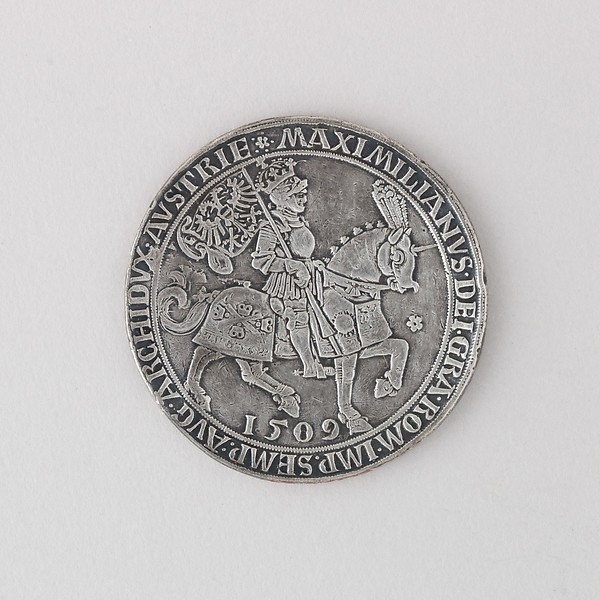 Coin (Thaler, Doppel) Showing Maximilian I on Horseback