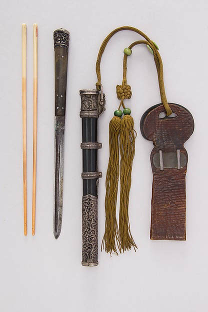 Knife with Sheath, Chopsticks and Belt Loop