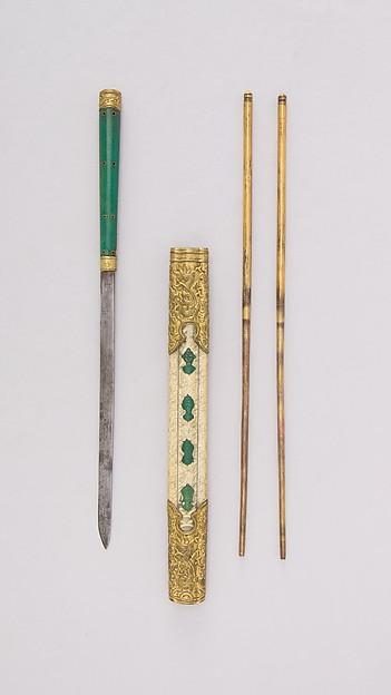 Knife with Sheath, Chopsticks, and Earspoon