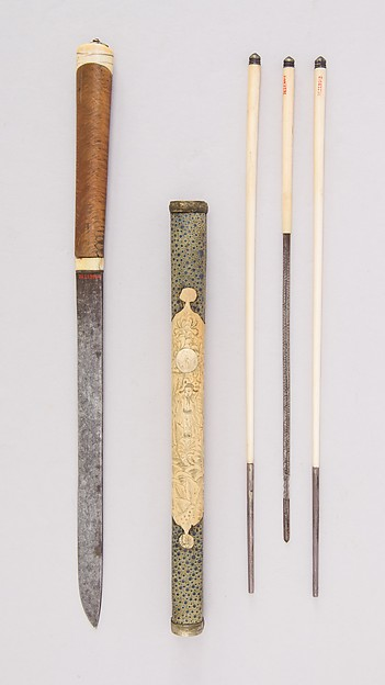 Knife with Sheath, Chopsticks, Pickle Spear and Picks