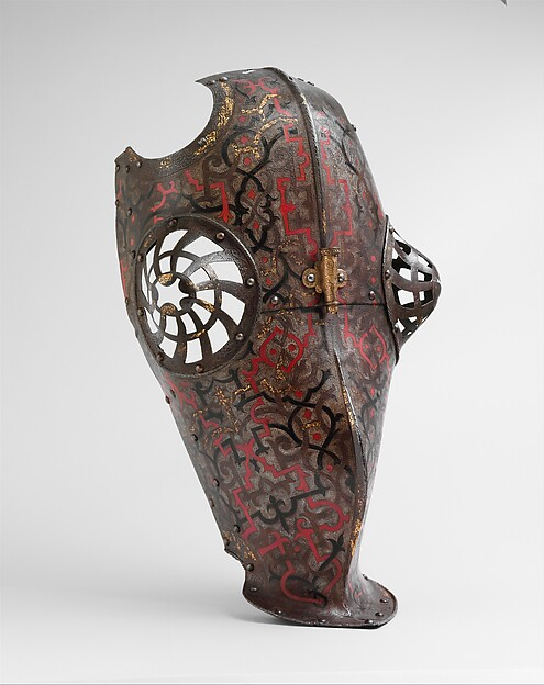"Shaffron Belonging to an Armor for Field and Tournament Made for Duke Nikolaus ""The Black"" Radziwill (1515–1565), Duke of Nesvizh and Olyka, Prince of the Empire, Grand Chancellor and Marshal of Lithuania"