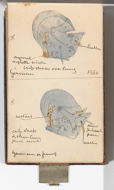 Memorandum Book Showing Colored Sketches Mostly of European Helmets