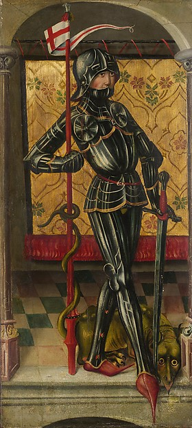 Two Painted Panels of St. George and St. Sebastian in Armor