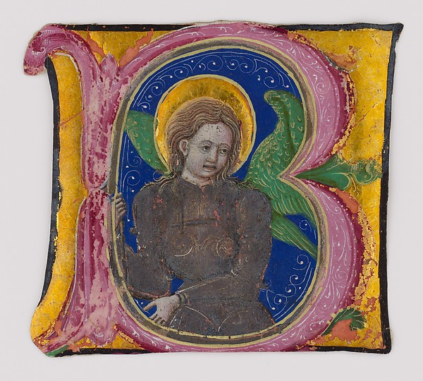 Manuscript Leaf Cutting from a Choir Book with an Illuminated Initial B and the Archangel Michael