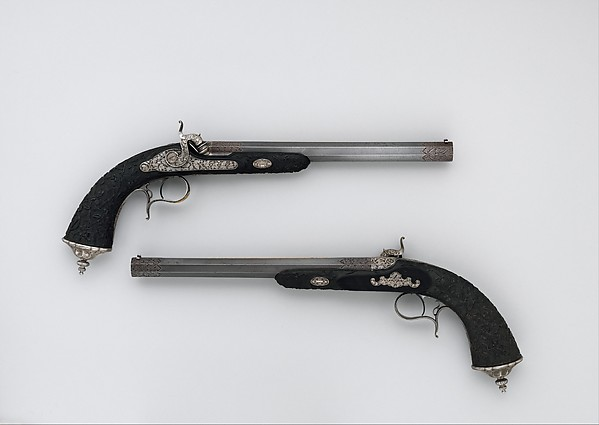 Cased Pair of Percussion Pistols with Accessories