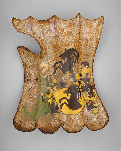 Shield painted with a coat of arms of either the Gottsmann family or Türriegel family from Franconia (ca. 1450)