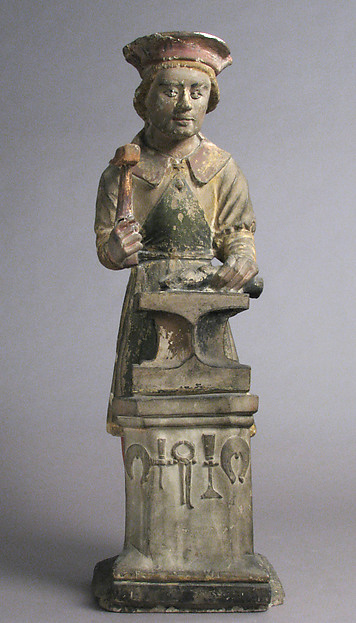 Sculpture of Saint Eloi Working on an Anvil in the Style of the 16th Century
