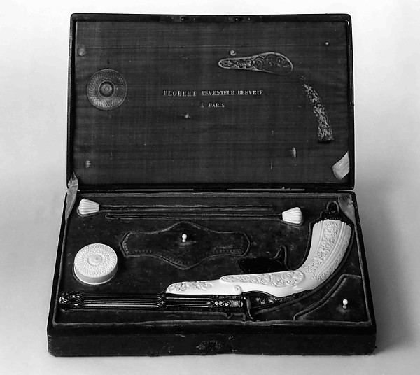 Breech-Loading Rimfire Cartridge Pistol with Case and Accessories