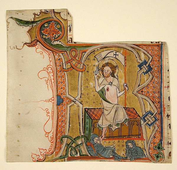 Manuscript Leaf Showing an Illuminated Initial R with The Resurrection