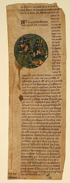 Manuscript Leaf Cutting from the Grande Chroniques de France