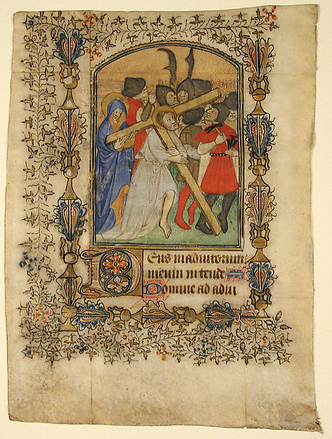 Manuscript Leaf from a Book of Hours Showing an Illuminated Initial D and Christ Bearing the Cross