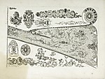 "Ornament Print from a Firearms Pattern Book Showing a Gun Stock in Profile, Side Plates, Escutcheons, and Other Designs, signed ""De Lacollombe Fecit"""