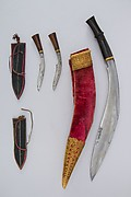 Knife (Kukri) with Two Sheaths, Two Small Knives, and Two Sharpening Pouches