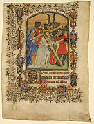 Manuscript Leaf Showing an Illuminated Initial D and Christ Bearing the Cross