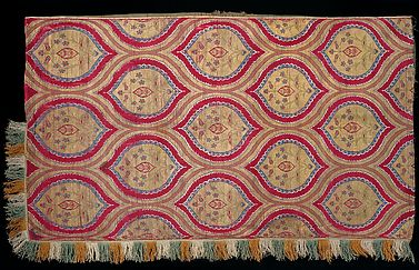 Textile with Floral Medallions in a Decorated Lattice