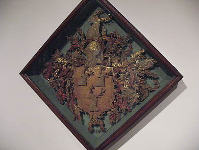 Quillwork hatchment of Dering coat of arms