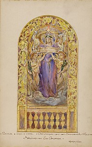 Design for beatitude stained glass window for Arlington Street Church, Boston