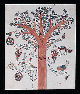 Drawing of Tree with Birds and Fruit
