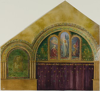 Design for church interior with Noli Me Tangere window