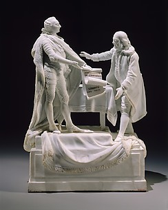 Figure of Louis XVI and Benjamin Franklin