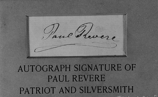 Fascinating Historical Picture of Paul Revere Jr. with Paul Reveres Autograph in 1745