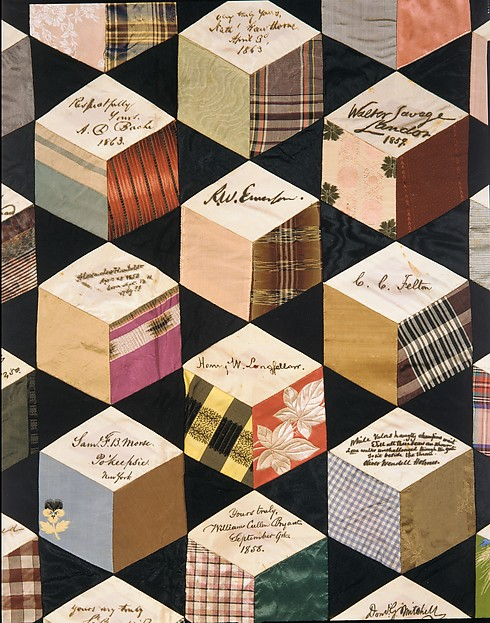 Quilt, Tumbling Blocks with Signatures pattern