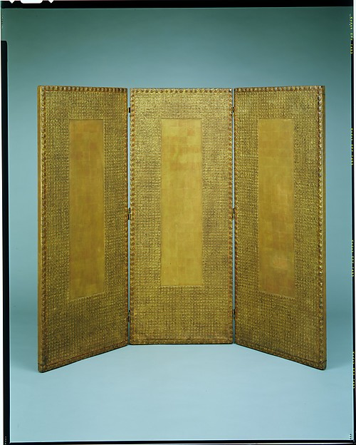 Three-paneled screen