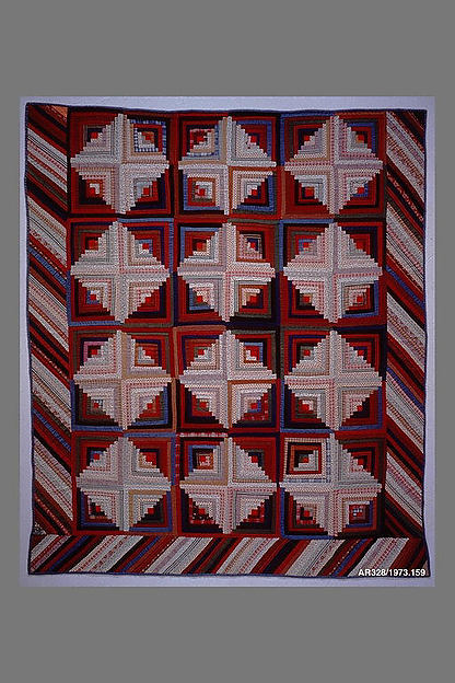 Quilt, Log Cabin pattern, Light and Dark variation