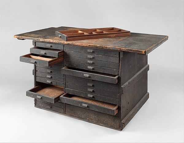 Work bench from Tiffany Studios