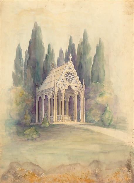 Design for a mausoleum in a landscape