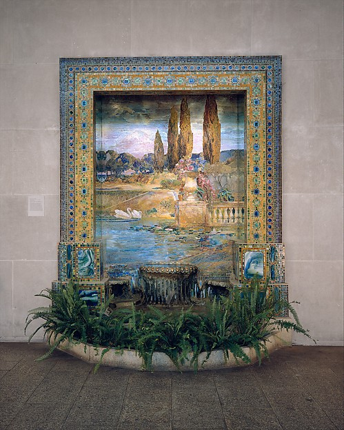 Fountain base for mosaic wall mural