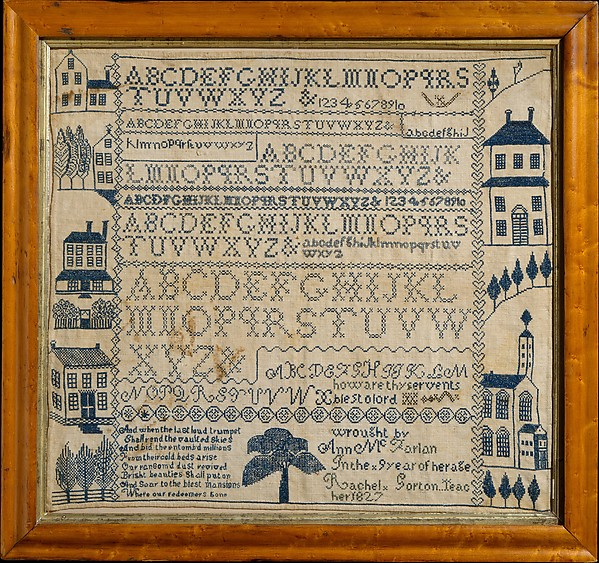 Sampler with apocalyptic verse