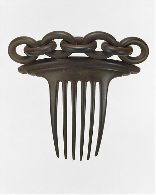 1851 Vulcanite hair comb, from The Met.