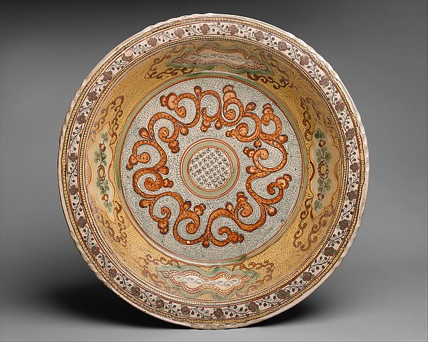 basin with polychrome scroll motif on strippled ground
