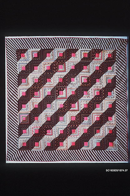 Quilt, Log Cabin pattern, Straight Furrow variation