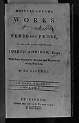 Book: Miscellaneous Works in Verse and Prose (Volume I of four volumes)