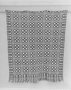 Coverlet, Four Snowballs pattern with Pine-tree border