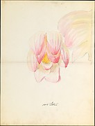 Design drawing of of lotus blossom of floral capital from loggia, Laurelton Hall