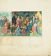 Design for a tapestry of medieval ladies and lords