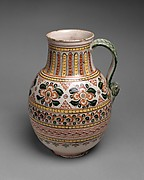Jar with crolled handle and horizontal bands of floral polychrome motifs