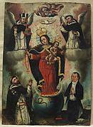 Virgin of the Rosary with Christ Child, God the Father and Holy Spirit, Saints and Donor