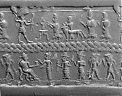 Cylinder seal and modern impression: royal figures approaching weather god; divinities