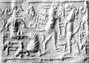Cylinder seal: confronted upright lion and griffin before a seated figure